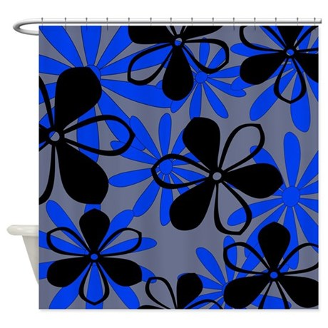 Black And Blue Floral Shower Curtain By Jqdesigns