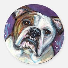 Portrait of an English Bulldog Round Car Magnet