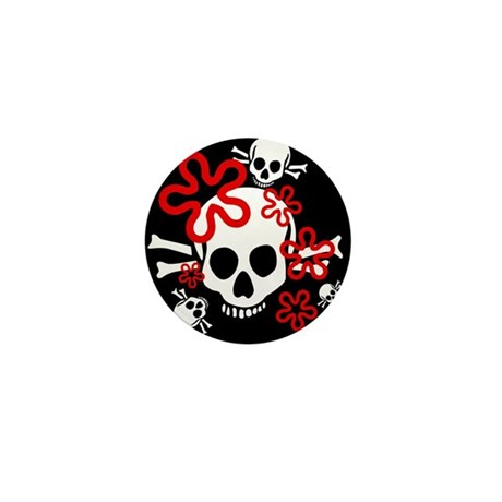 Skull & Flowers Red Mini Button