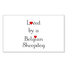 Loved by a Belgian Sheepdog Rectangle Decal