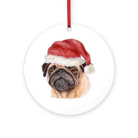 Christmas Pug Ornament (Round)