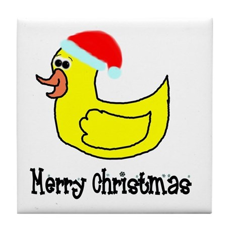 Senor Christmas Duckie Tile Coaster