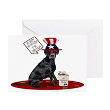 Black Lab 4th of July Greeting Cards (Pk of 10
