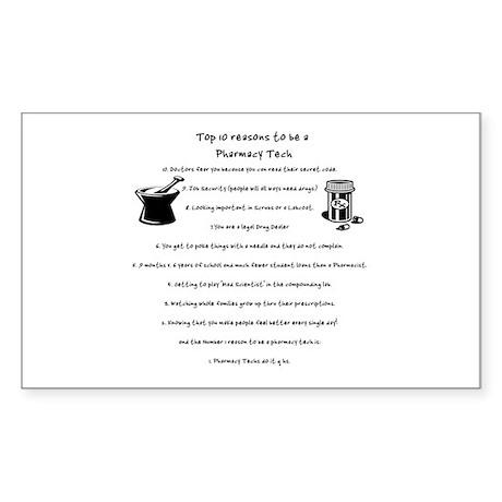 Pharmacy Tech Top 10 List Rectangle Sticker