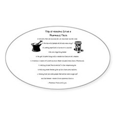 Pharmacy Tech Top 10 List Oval Decal