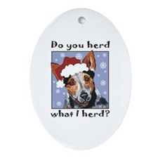 Red Heeler Do you Herd? Oval Ornament