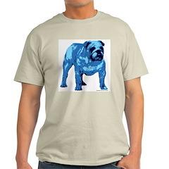 Blue Bulldog Design Ash Grey T-Shirt