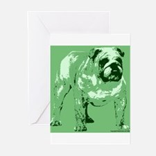 Green Tone Bulldog Design Greeting Cards (Package