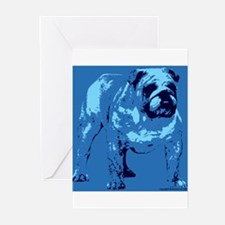 Blue Tone Bulldog Design Greeting Cards (Package o