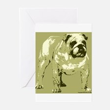 Brown Tone Bulldog Design Greeting Cards (Package