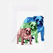 3 Color Bulldogs Design Greeting Cards (Package of