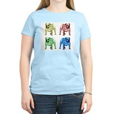 4 Color Bulldog Design Women's Pink T-Shirt