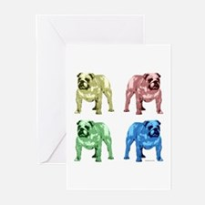 4 Color Bulldog Design Greeting Cards (Package of