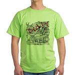 Brick Wall Bully Design Green T-Shirt