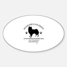 American Eskimo Dog Daddy designs Sticker (Oval)