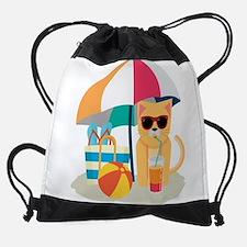 Cute Cool Cat at the beach Drawstring Bag