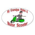 Grandpa Rides A Scooter Oval Sticker