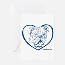 Bully Heart Blue Greeting Cards (Pk of 10)