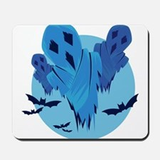 Halloween midnight Ghouls and bats Mousepad