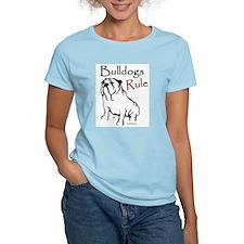 Bulldogs Rule Black Women's Pink T-Shirt