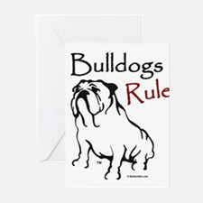 Bulldogs Rule Black Greeting Cards (Pk of 10)