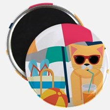 Cute Cool Cat at the beach Magnets