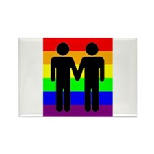 Men Holding Hands, Rainbow Ba Rectangle Magnet