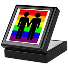Men Holding Hands, Rainbow Ba Keepsake Box