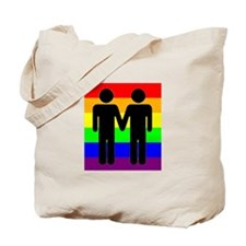 Men Holding Hands, Rainbow Ba Tote Bag