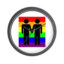 Men Holding Hands, Rainbow Ba Wall Clock