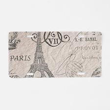 french scripts paris eiffel Aluminum License Plate