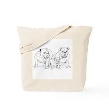Bulldog Family Black Tote Bag