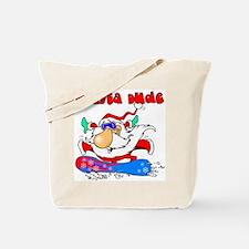 Santa Snowboarding Dude Tote Bag