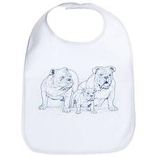 Bulldog Family Blue Bib