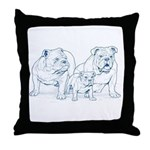 Bulldog Family Blue Throw Pillow