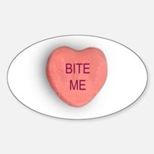 Bite Me Valentine Oval Decal