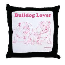 Bulldog Lover Pink Throw Pillow