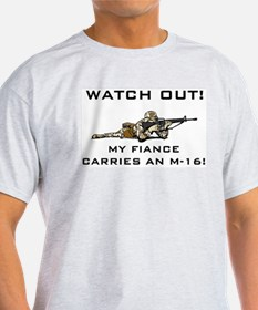 Military Fiance carries M-16 Ash Grey T-Shirt
