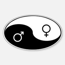 """Yin Yang / Male Female"" Oval Decal"