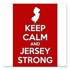 """Keep Calm Jersey Strong Square Car Magnet 3"""" x 3"""""""