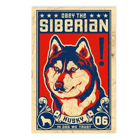 Obey the SIBERIAN Husky Postcards -8 Pack