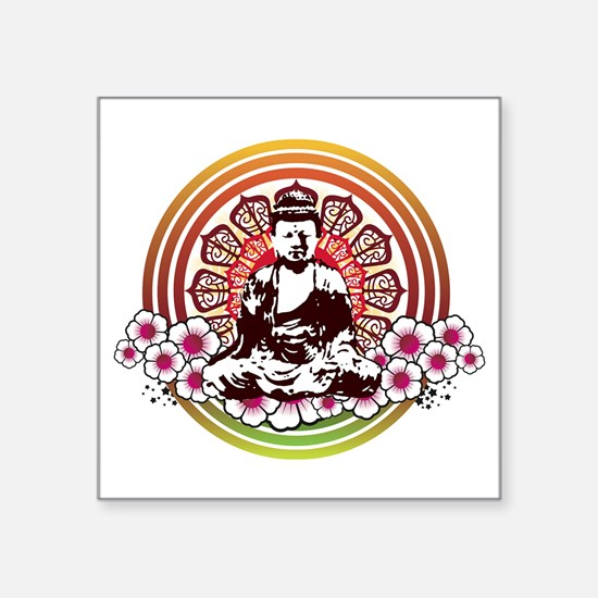 "buddha with flowers.jpg Square Sticker 3"" x 3"""