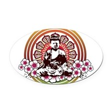 buddha with flowers.jpg Oval Car Magnet