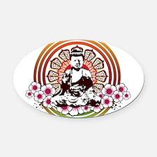 buddha with flowers.jpg Oval Car Magnet