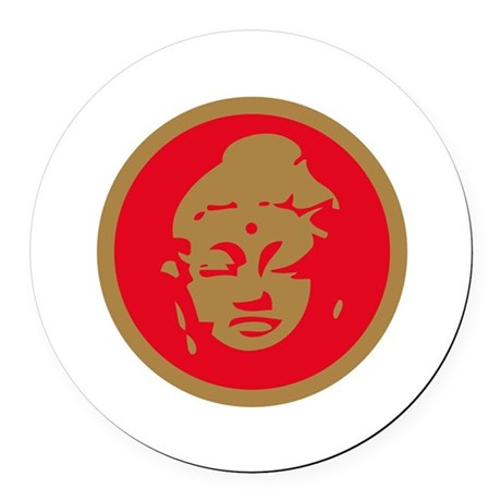 Buddha red.png Round Car Magnet