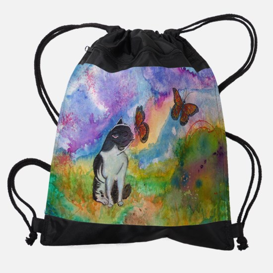 Cat and Monarchs Drawstring Bag