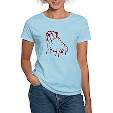 Bulldog Logo Red Women's Pink T-Shirt