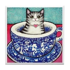 Grey Tabby CAT In Blue Willow CUP Tile Coaster