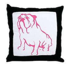 Bulldog Logo Pink Throw Pillow