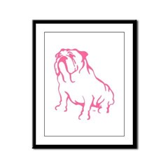 Bulldog Logo Pink Framed Panel Print